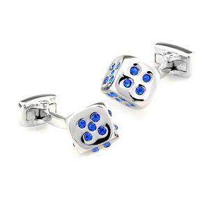 Silver Dice with Blue Swarovski Crystals Cufflinks